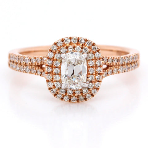 14K Rose Gold Cushion Pave Double Halo Ring