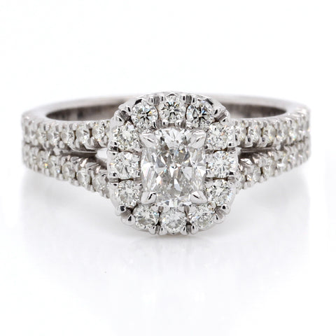 18K White Gold Pave Split Shank Cushion Halo Engagement Ring