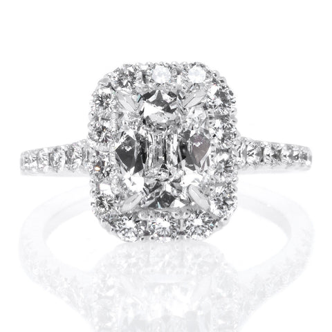 Henri Daussi 18K White Gold Diamond Halo Engagement Ring