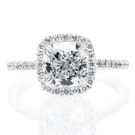 18K White Gold Split Shank Diamond Halo Engagement Ring