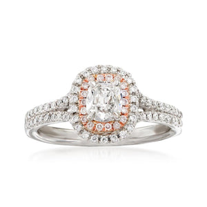 14K White Gold Cushion Cut with Pink Diamond Halo Engagement Ring