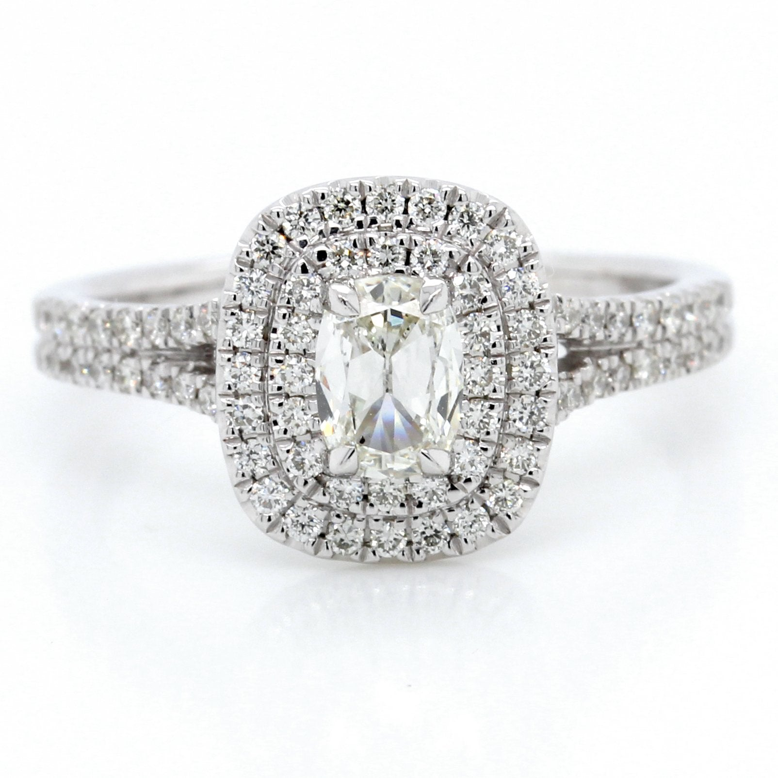18K White Gold Cushion Halo Engagement Ring