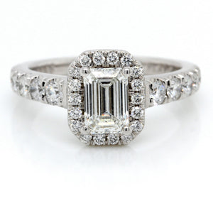 Platinum Emerald Cut Halo Picropave Engagement Ring