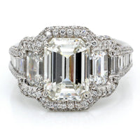 Platinum Emerald Cut Tapered Shank Halo Engagement Ring