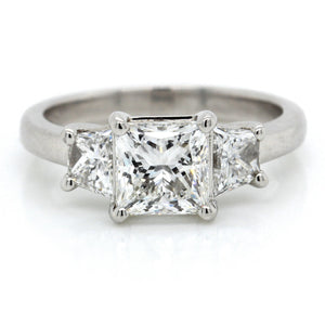 Platinum Three-Stone Princess Cut Engagement Ring