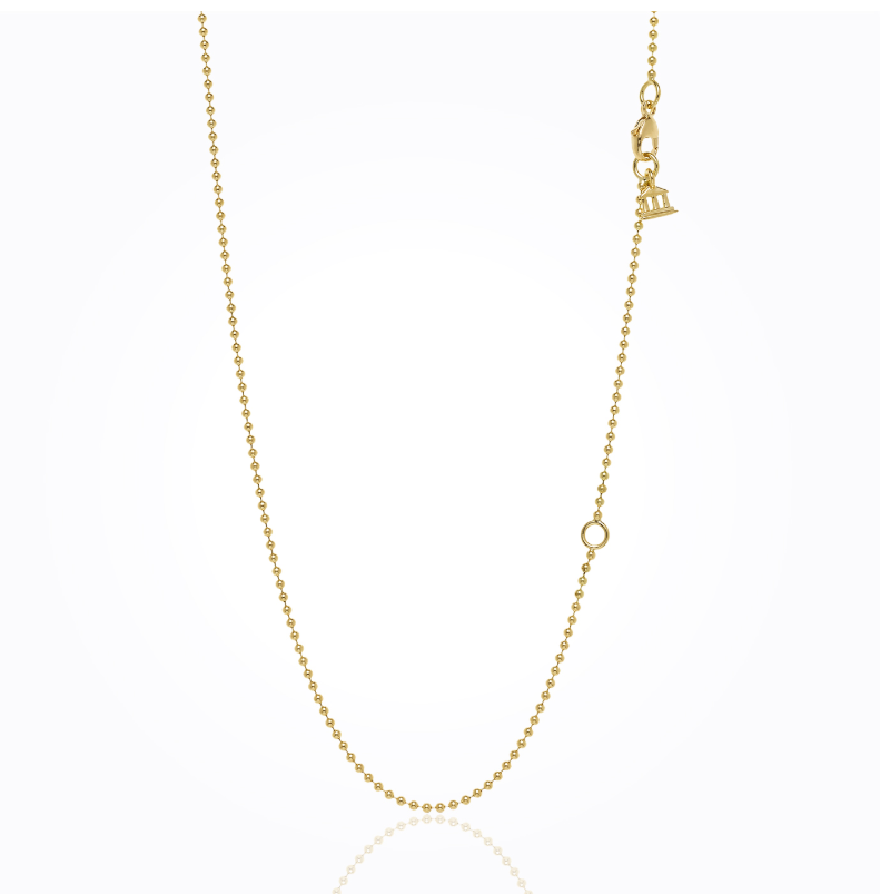 "18K Yellow Gold Ball Chain with 2"" Extender"