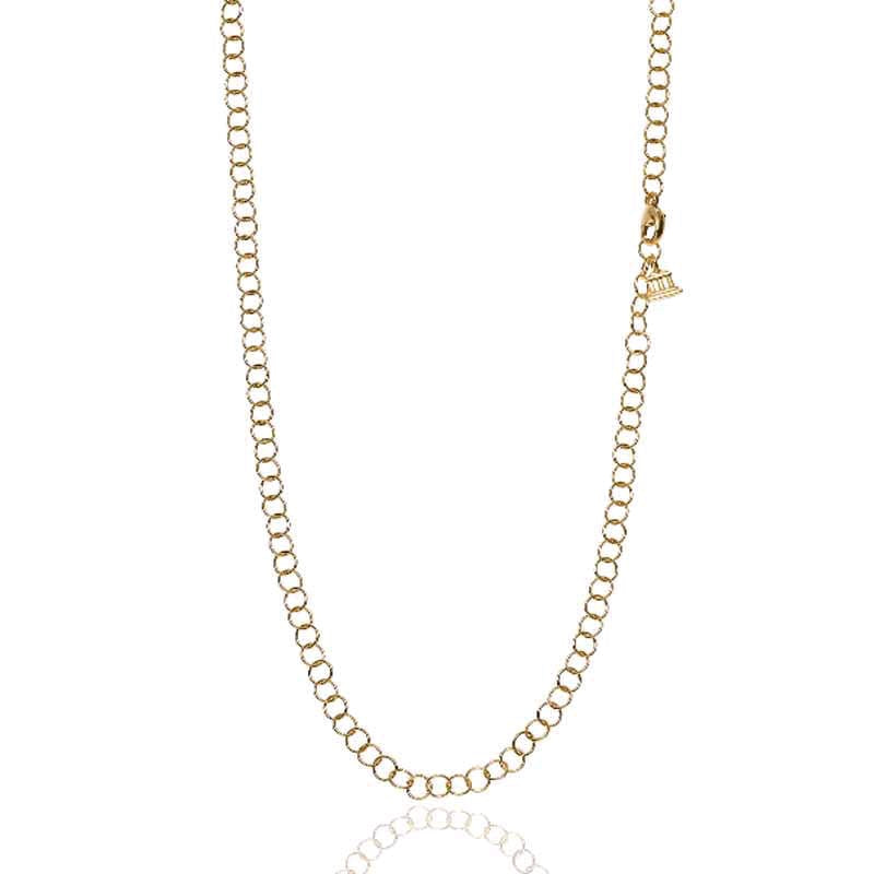 18K Yellow Gold Small Round Link Chain Necklace