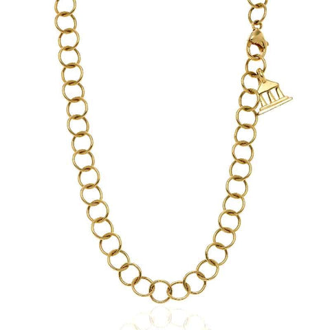 18K Yellow Gold Round Link Chain Necklace