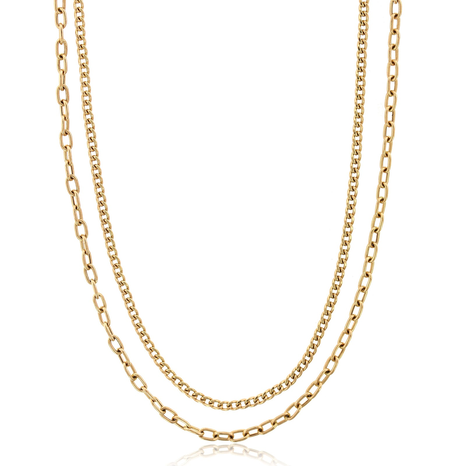14K Yellow Gold Double Curb Link Chain