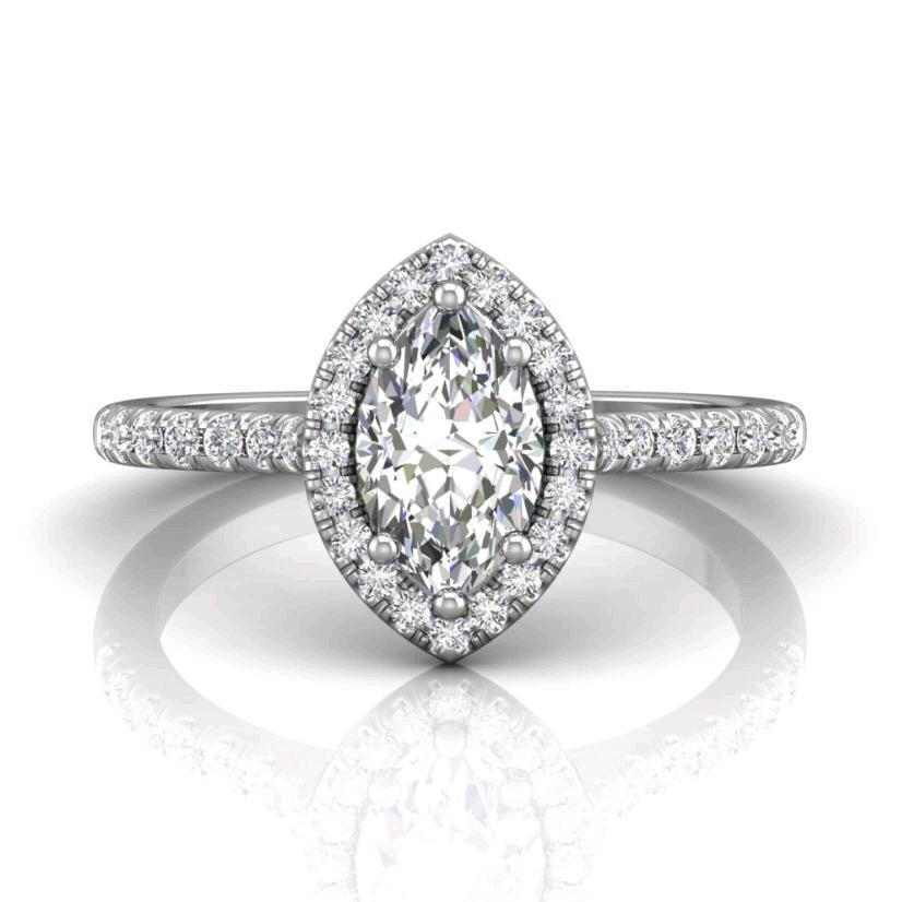 18K White Gold Marquise-Cut Halo Micro-Pave Engagement Ring