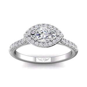 18K White Gold Marquise Halo Micro-Pave Engagement Ring