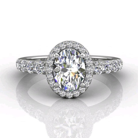 18K White Gold Oval Halo Micro-Pave Engagement Ring