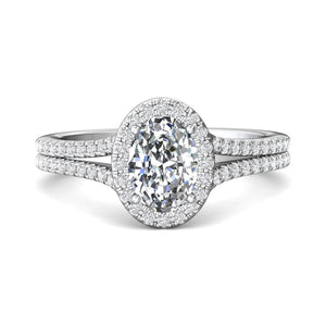 Platinum Oval Halo Micro-Pave Engagement Ring