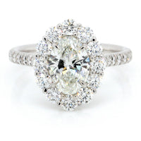 18K White Gold Oval Cut Halo Engagement Ring