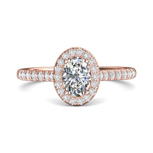 18K Rose Gold Oval Halo Micro-Pave Engagement Ring