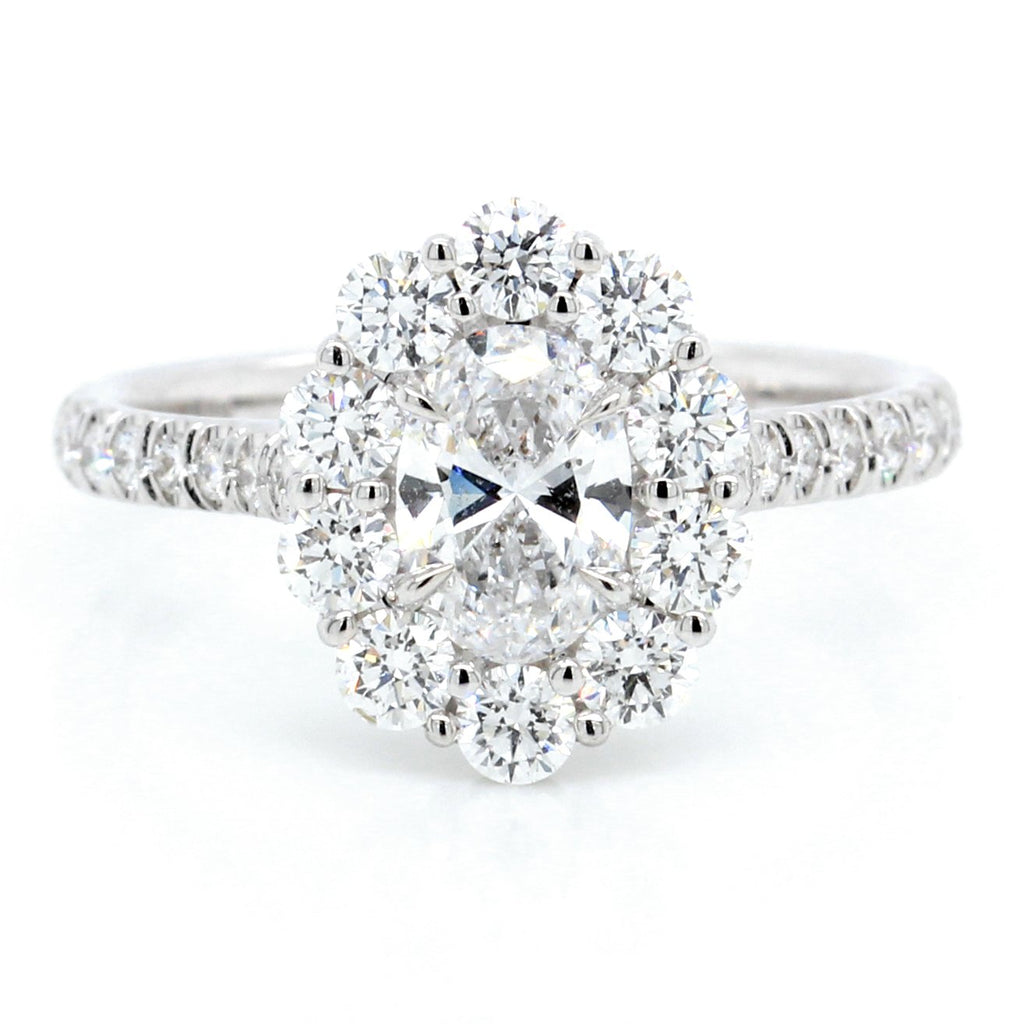 18K White Gold Oval Halo Engagement Ring