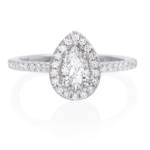 18K White Gold Pear Halo Solitaire Engagement Ring
