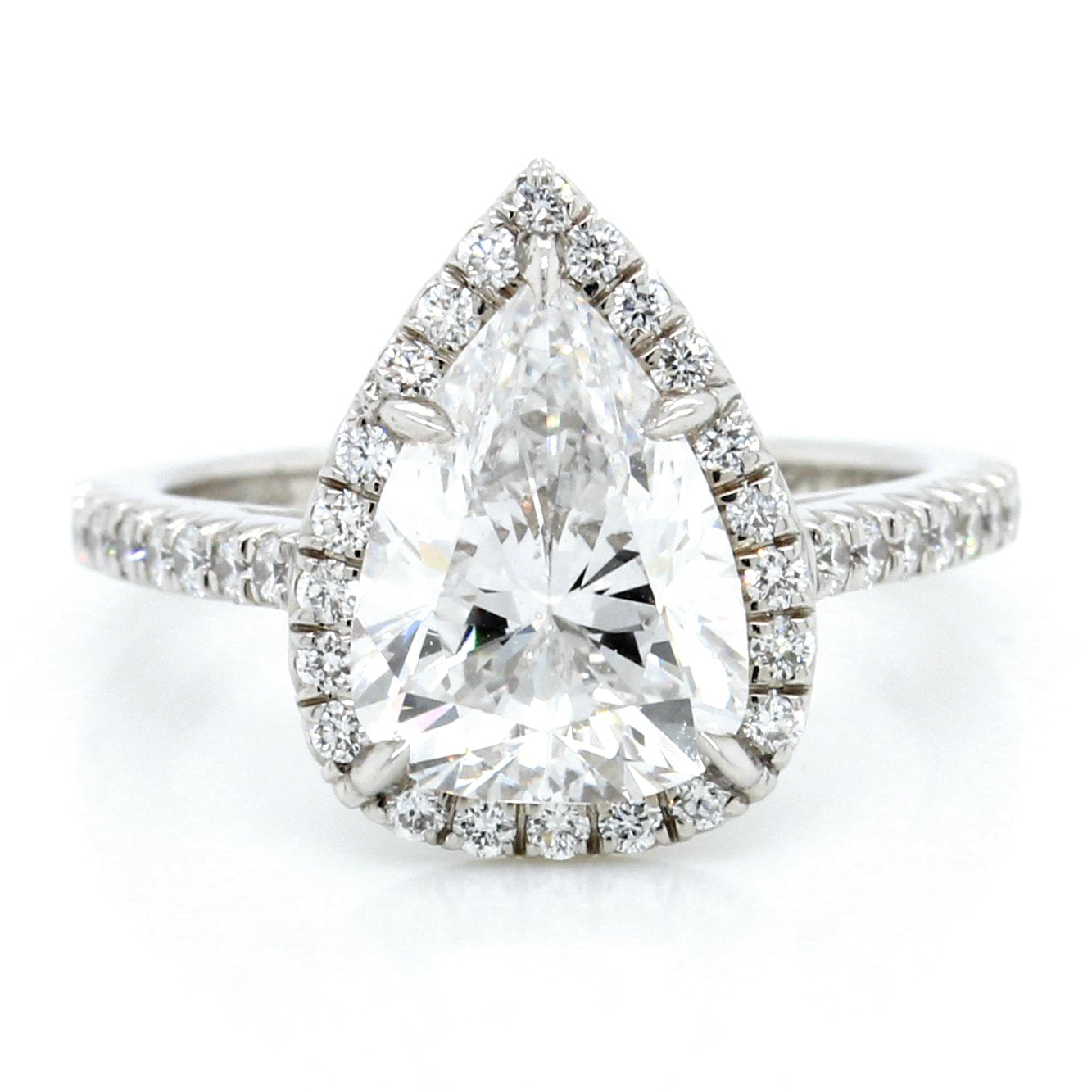 Platinum Pear Halo Engagement Ring