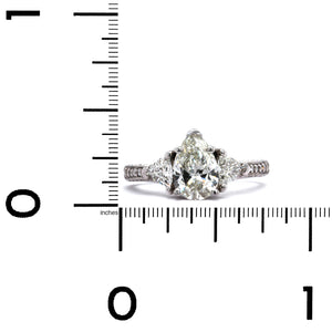 18K White Gold Pear Shaped Engagement Ring