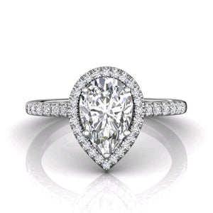 18K White Gold Pear Halo Micro-Pave Engagement Ring
