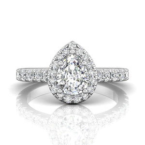 18K White Gold Pear Shaped Halo Engagement Ring