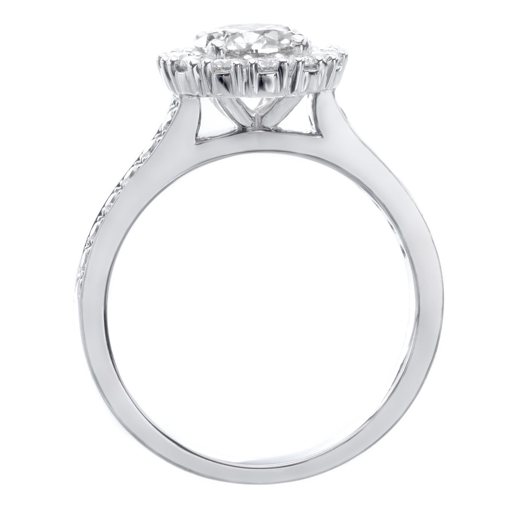 Platinum Round Halo and Pave Diamond Shoulder Engagement Ring