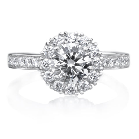 Platinum Square Halo French-Set Diamond Band Engagement Ring