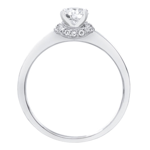 18K White Gold and Platinum Circle Polished Engagement Ring