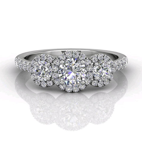 18K White Gold Three-Stone Halo Engagement Ring