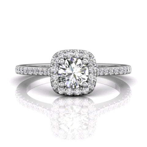 18K White Gold Halo Micro-Pave Engagement Ring