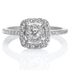 18K White Gold Diamond Bouquet Square Halo Engagement Ring