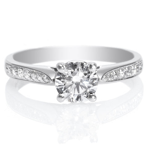 18K White Gold Double Row French-Set Diamond Band Engagement Ring