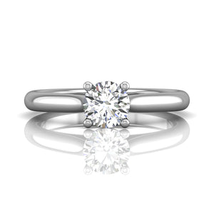 18K White Gold Solitaire Mounting with Round Diamond Engagement Ring