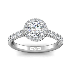 18K White Gold Diamond with Micro Pave Halo Engagement Ring