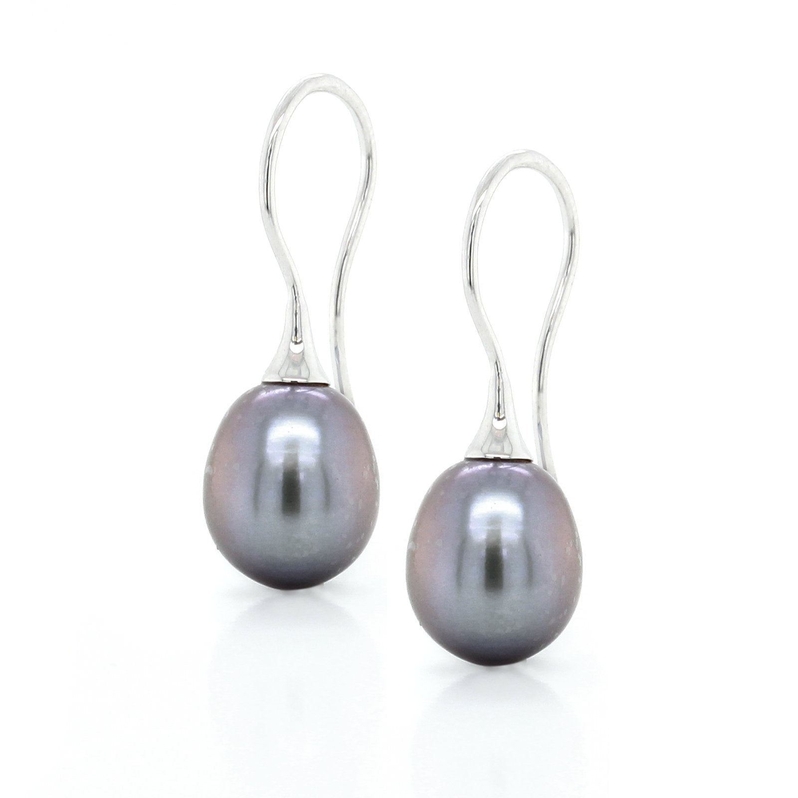 14K White Gold Grey Pearl Drop Earrings