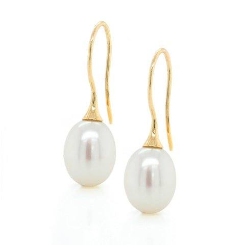 14K Yellow Gold White Pearl Drop Earrings