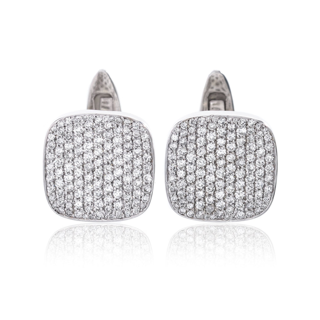 14K White Gold and Pave Diamond Cufflinks