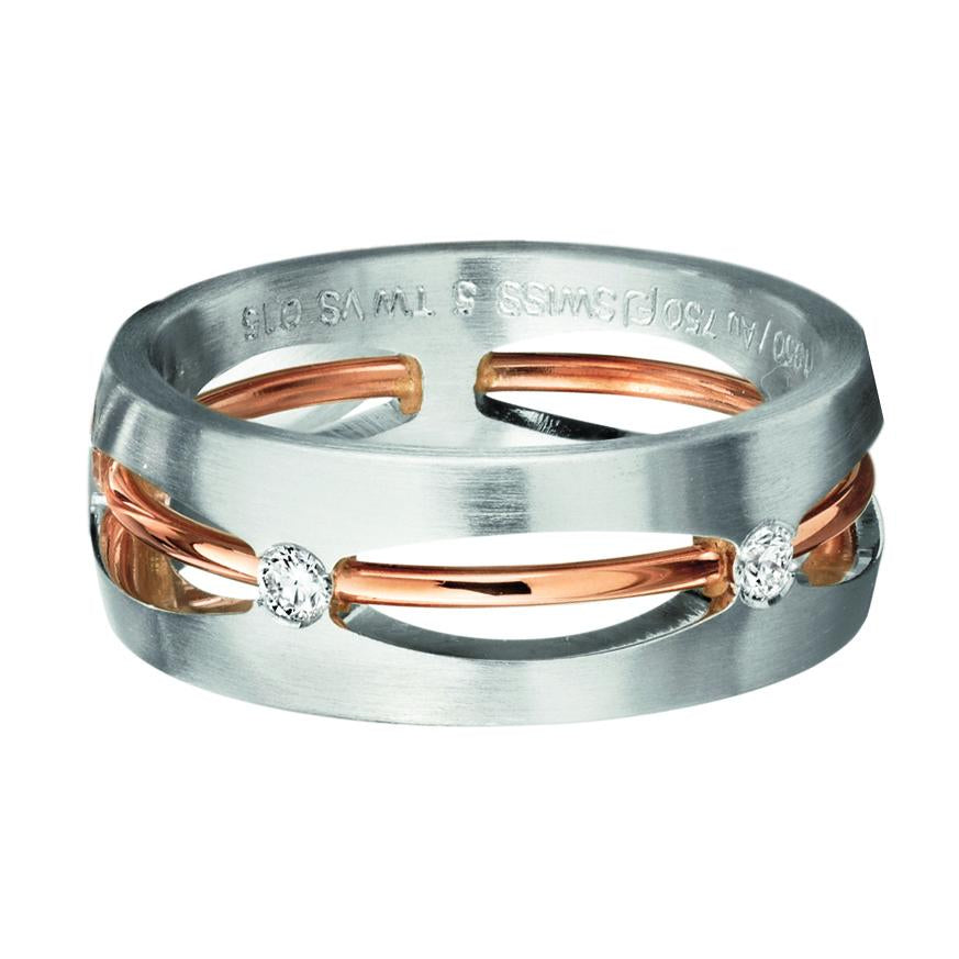 18K White Gold and Rose Gold Open Diamond Band