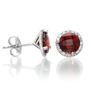 14K White Gold Diamond Halo Garnet Studs