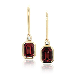 14K Yellow Gold Emerald Cut Garnet Earrings
