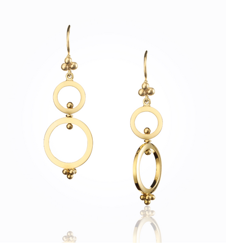 18K Yellow Gold Double Ring Spin Earrings