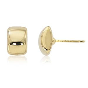 14K Yellow Gold Rectangle Stud Earrings