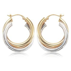14K Two-Tone Twist Hoop Earrings