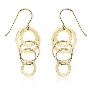 14K Yellow Gold Hammered Cascading Earrings