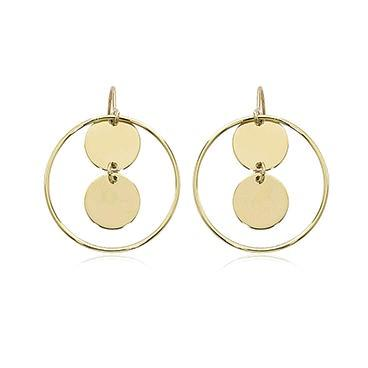 14K Yellow Gold Framed Round Discs Earrings