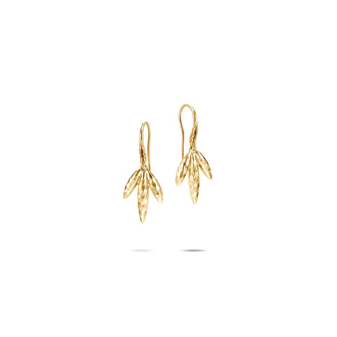 Classic Chain Hammered 18K Gold Spear Drop Earrings on French Wire