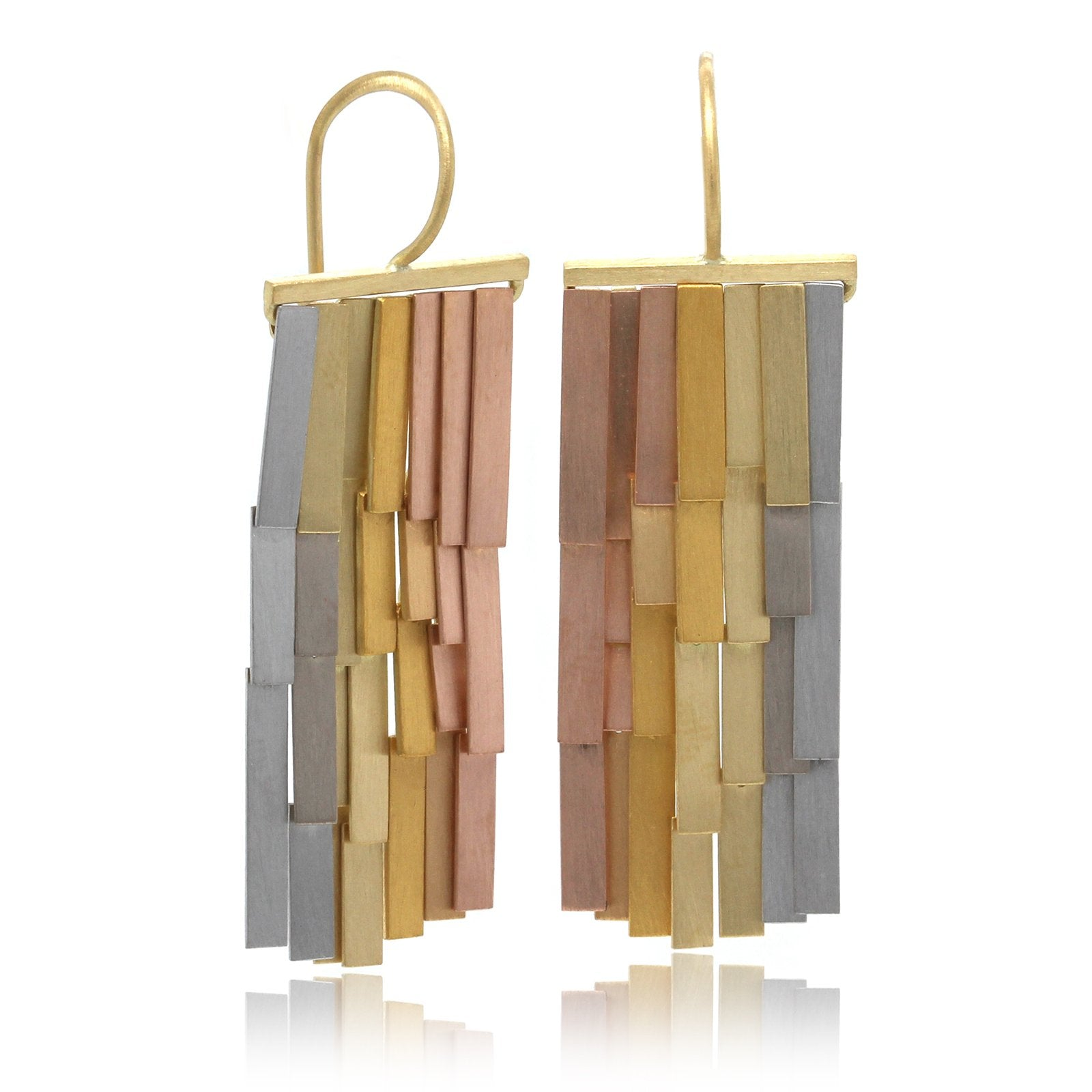 18K Tri-Color Rainfall Drop Earrings