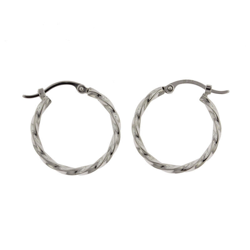 14K White Gold Medium Twisted Hoop Earrings