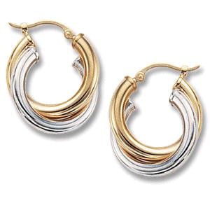 14K Two-Tone Gold Double Crossover Hoop Earrings