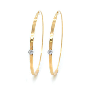 14K Yellow Gold Small Flat Hoops with Diamonds